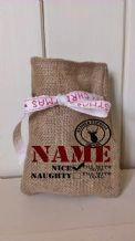 Personalized Naughty or Nice Small Father Christmas Xmas Santa Sack / Stocking Bag Jute Hessian